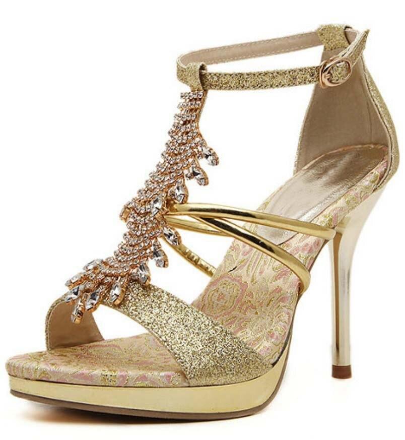 ФОТО Luxury Crystal Rhinestone Sandals Wedding Bridesmaid Shoes Women Platform T Ankle Strap High Heel Stiletto Pumps Shoes Woman