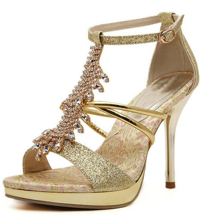 Online Buy Wholesale gold ankle strap heels from China gold ankle