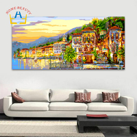 HOME BEAUTY 50 100 Diy Pictures By Numbers Modular Wall Paintings For Living Room Town Coloring