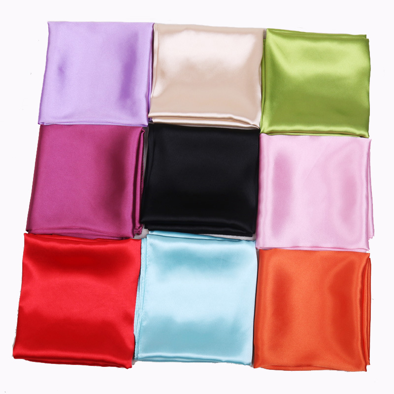 60cm Candy Colors Women Silk Scarf Fashion Silk Shawl Head Covering Ladies Professional Small Squares New Design Silk Scaves(China)