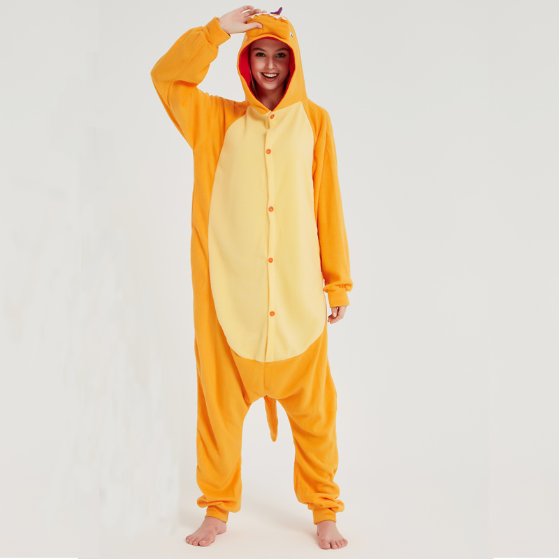 Pokemon Charizard Onesie Adult Women Men Pajamas Cartoon Animal Charmander Dragon Costume Party Winter Warm Cute Pyjama Sleep (5)