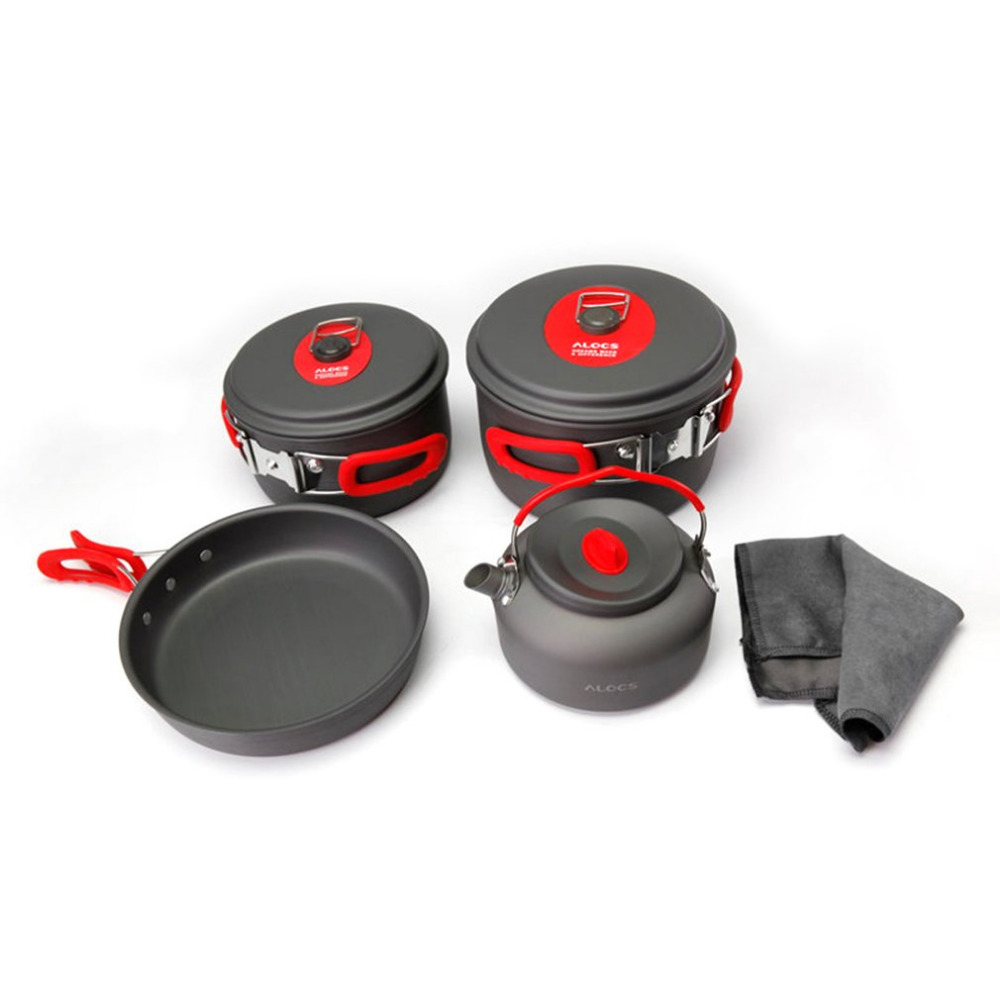 ALOCS CW-C06S Outdoor Camping Cookware Set Pots Frying Pan Kettle Portable Picnic Cooking Tableware Set for 3-4 People vilead portable camping pot pan kettle set aluminum alloy outdoor tableware cookware 3pcs set teapot cooking tool for picnic bbq
