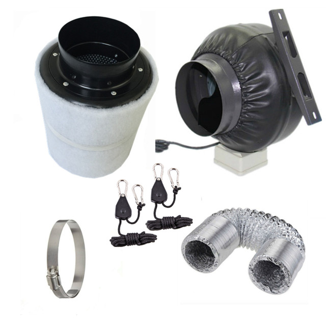 Grow Tent 4 Inch 100mm Centrifugal Fans Activated Carbon Air Filter Set For Indoor Hydroponics Greenhouses