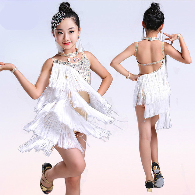 13bf25b34dde sequin tassel child kid children professional latin dance dress for girls  ballroom dancing dresses for kids fringe salsa spandex