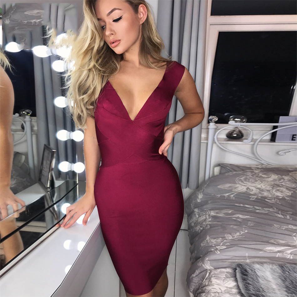 Celebrity Party Bandage Dress Women Sleeveless V-Neck Sexy Night Out Club Dress Women Bodycon