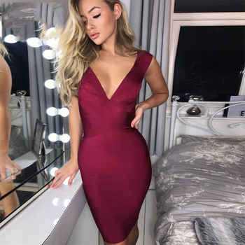 Celebrity Party Bandage Dress Women Sleeveless V-Neck Sexy Night Out Club Dress Women Bodycon
