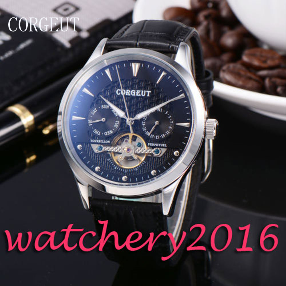 Luxury 44mm Corgeut black dial silver marks day Date automatic movement men's Watch