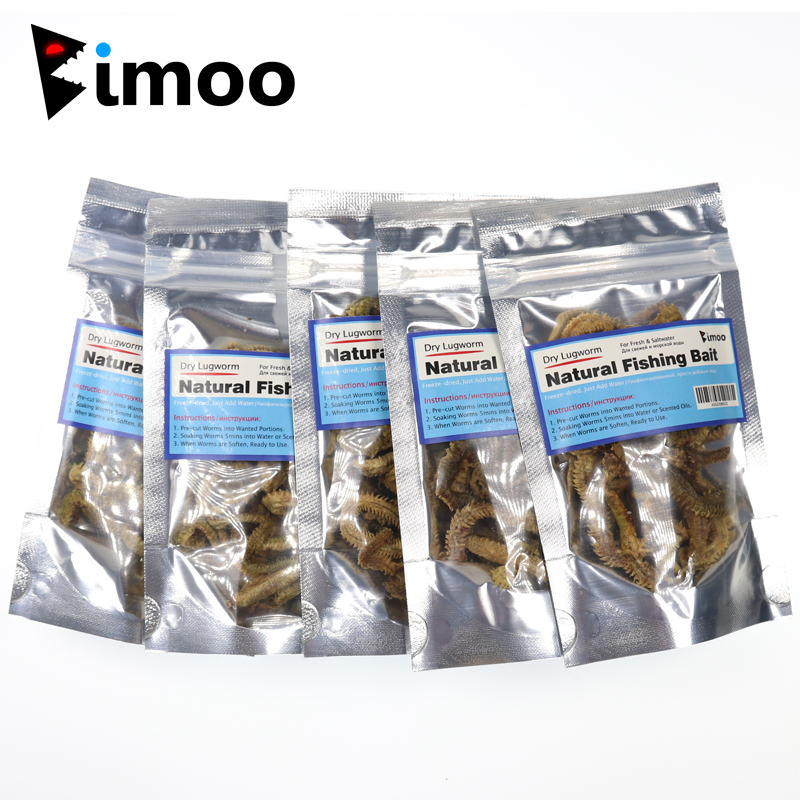 Bimoo 5 Bags Dry Lugworm / Sand Worm Fishing Bait Saltwater Freshwater Fishing Lures for Whiting Bream Trevally Flathead Fishing