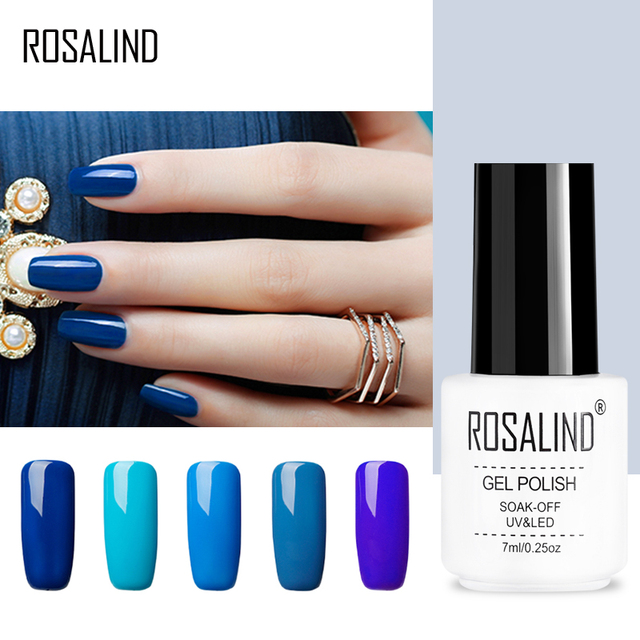 ROSALIND Gel 1S Nail Gel Polish 7ML Blue Colors Soak Off UV Nail Art Beauty Manicure Gel Polish Semi Permanent Nail Polish