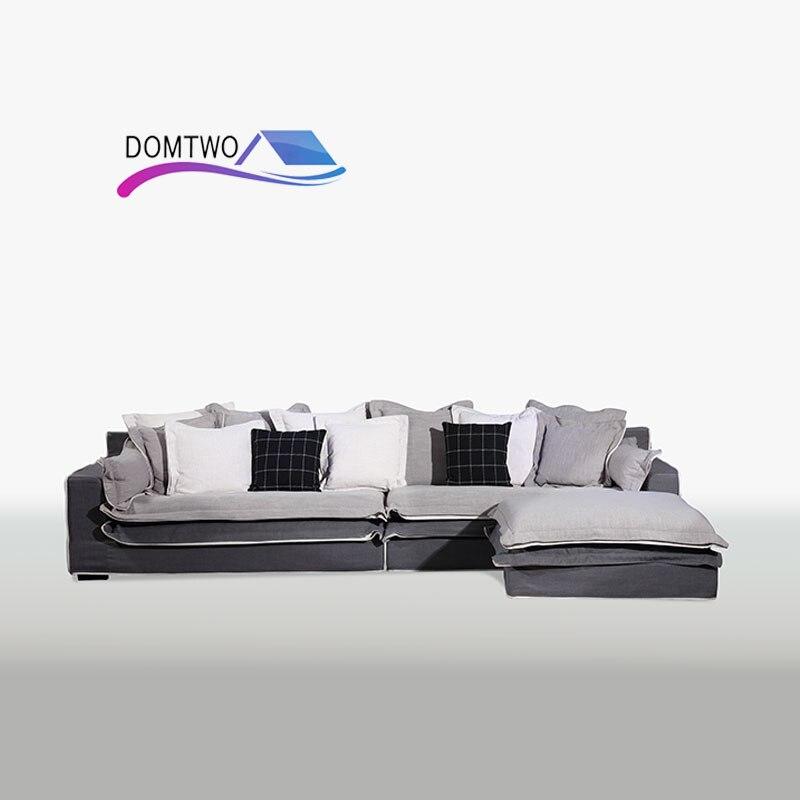 Living Room Furniture Corner House Type Cotton Down Sofa Customizable