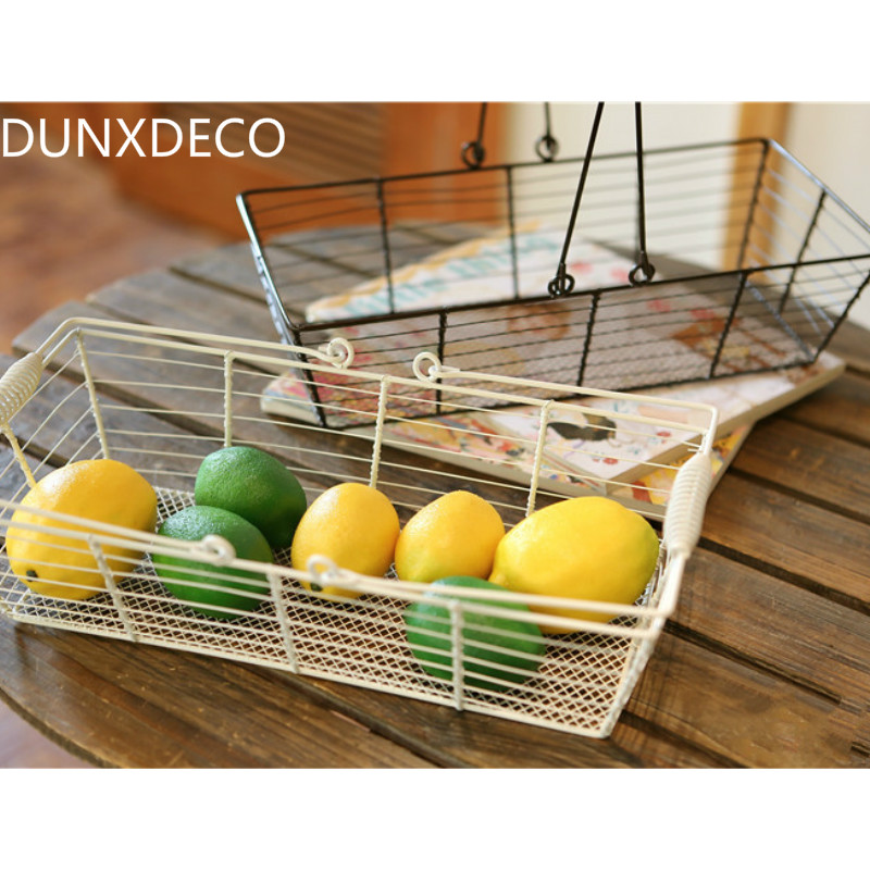 DUNXDECO Retro Iron Wire Flower Fruit Vegetable Rectangle Storage Basket  Multifunction Craft Home Office Storage Decoration Gift