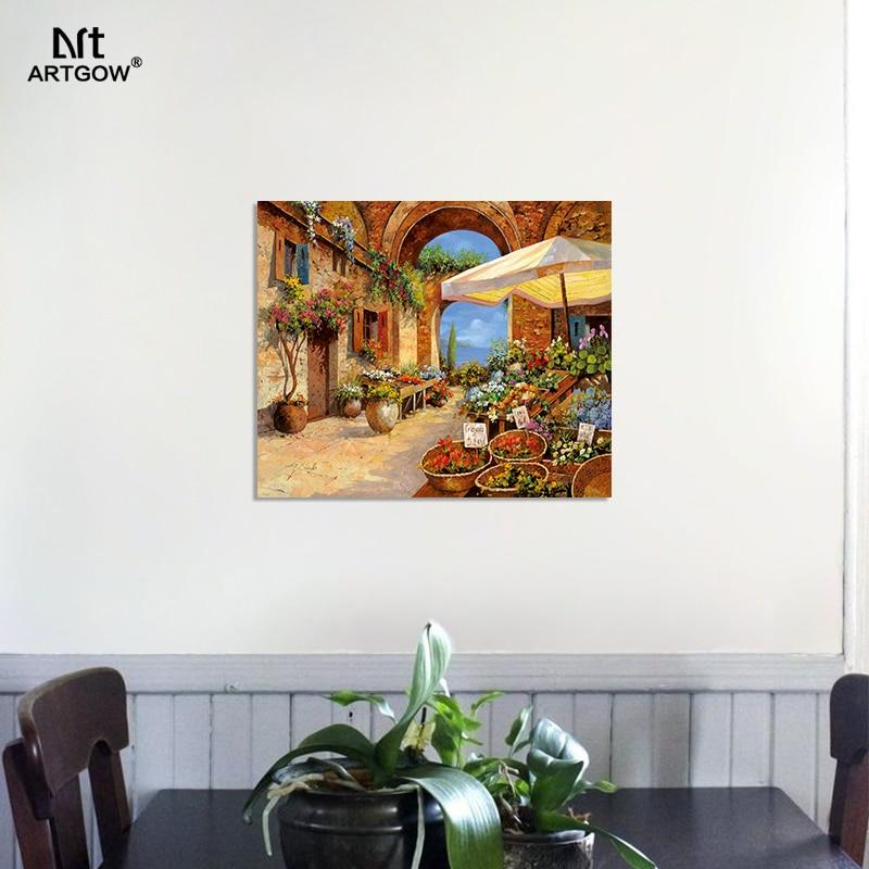 Lieblich Europa Dorf Stil Seaside Mediterrane Landschaft Wohnzimmer Dekoration  Leinwand Malerei Wandkunst Bild Home Decor Unframed In Europa Dorf Stil  Seaside ...