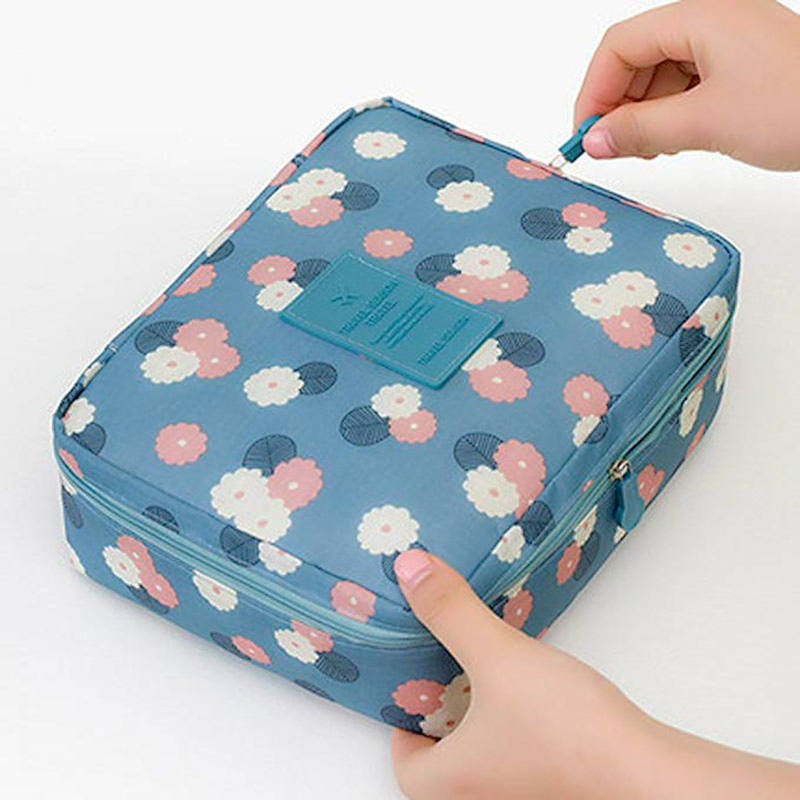 Outdoor travel nylon beautician Makeup box waterproof makeup organizer bathroom Storage Box ladies portable bath hook wash Bag(China)