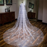 High Quality Ivory Luxury Bling 3.5M Wedding Veils 2018 Fashion with Comb Bronzing Cathedral Bridal Veils Wedding Accessories