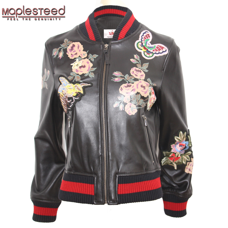 5d3dee8f06b3 MAPLESTEED 100% Sheepskin Women Leather Jacket Embroidery Jacket For Women  Black Leather Coat Ladies Baseball Jacket Spring M118