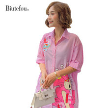 2019 Summer shirts stripe cartoon print fashion sequins beading women short sleeve
