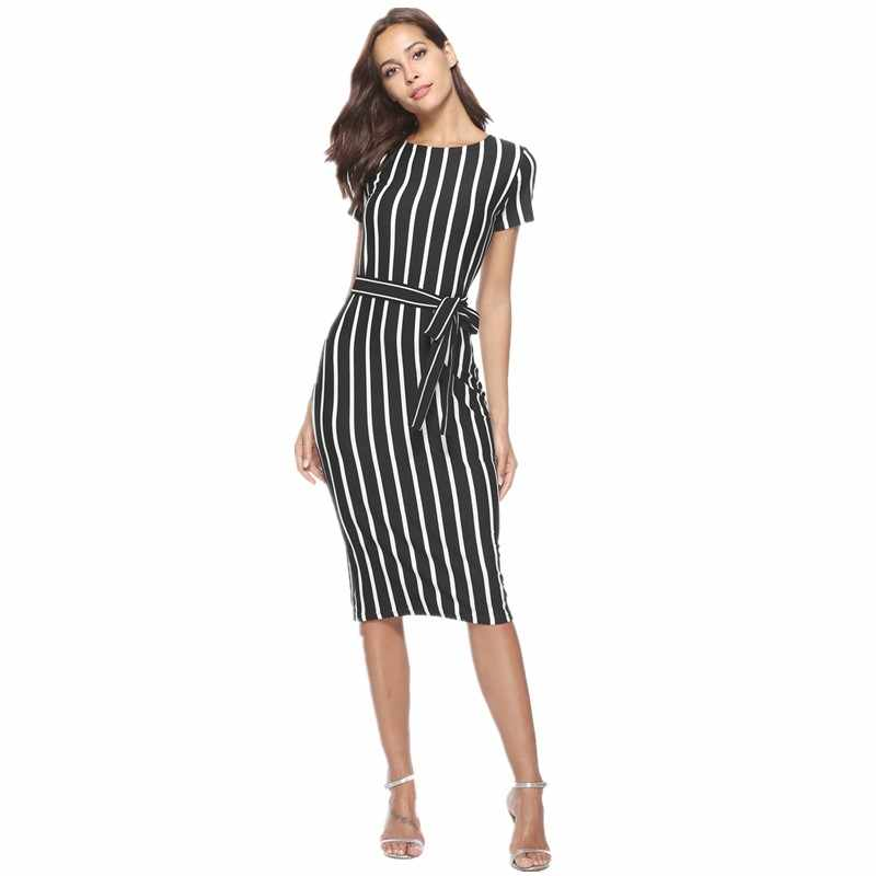 5f4acc586060 summer dress 2018 striped dress runway plus size dresses for women short  sleeve bodycon bandage office