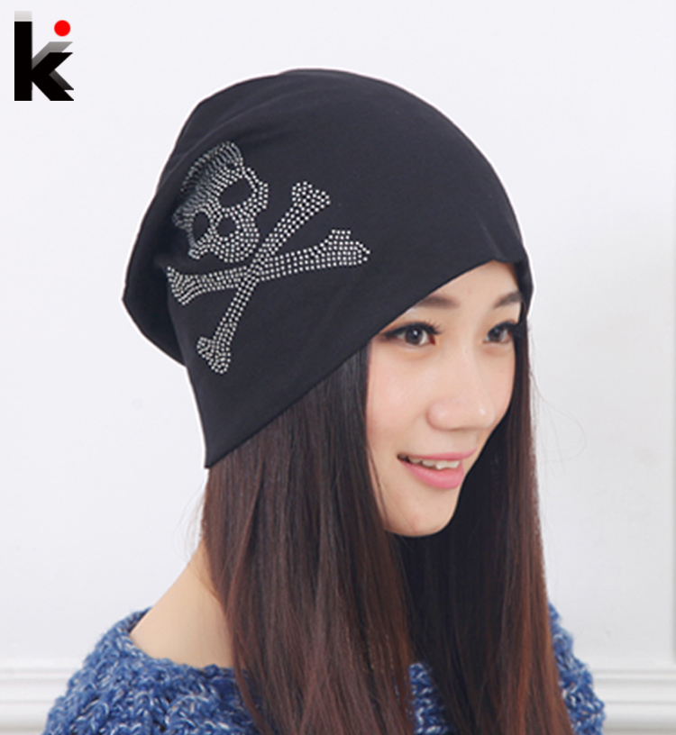 Fashion Spring and Autumn hat beanies Diamond Skull Pattern cap hip-hop Skullies gorro turban for women bonnet caps