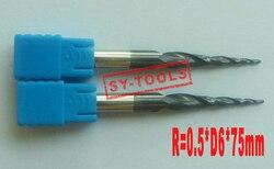 2 sztuk R0.5 * D6 * 30.5 * 75L * 2F HRC55 wolframu stałe powlekane stożkowe młyn kulowy frezy stożkowe i stożkowe