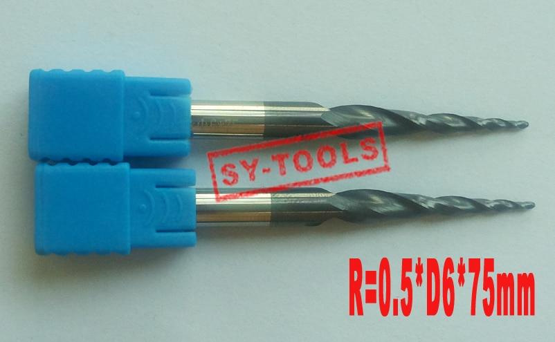 2PCS R0.5 * D6 * 30.5 * 75L * 2F HRC55 کاربید جامد تنگستن پوشش داده شده با روکش توپ توپ مخروطی پایان میلز مخروط و مخروط مخروط
