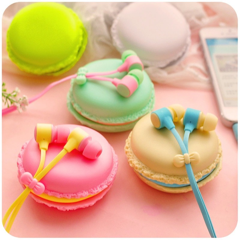 Asli Macaroon Earphone 3.5mm in-ear earphone dengan Macaroon Case & Mic untuk Xiaomi Samsung iphone 6 6 s 5 Apple Sony Smartphone
