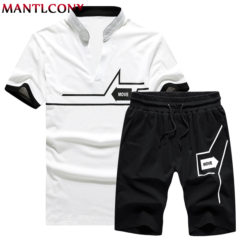 Mantlconx T Shirt+Shorts Sets Men Letter Printed Summer Suits Casual Tshirt Men Tracksuits Brand Streetwear Tops Tees Men Summer