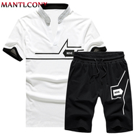 Mantlconx T Shirt+Shorts Sets Men Letter Printed Summer Suits Casual Tshirt Men Tracksuits Brand Streetwear Tops Tees Men Summer