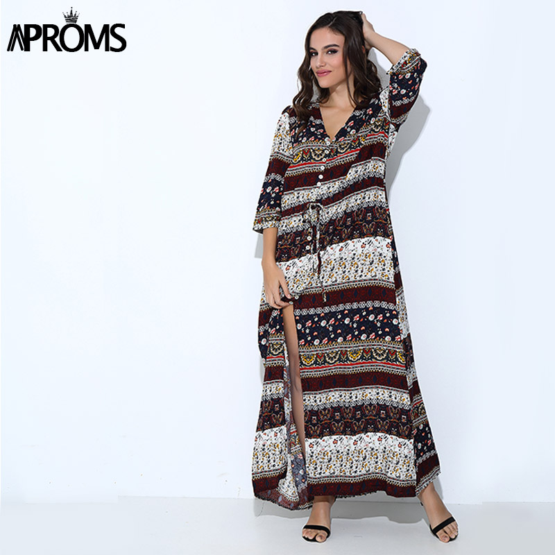 3XL Boho Ethnic Summer Long Maxi Dress Donna Sexy V-Neck Sundress Ladies mezza manica Abiti da spiaggia allentati Big Size Vestidos