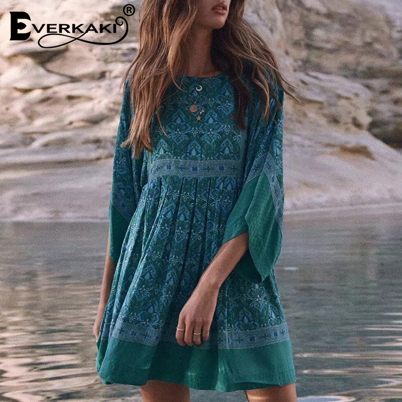 Everkaki Cotton Boho Dress Women Flare Sleeve Mini Dress Floral Blue Bohemian Gypsy Dresse