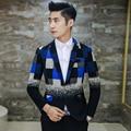Плед Мужские Блейзеры Новые Поступления 2016 Полушерстяные Пиджак Hombre Slim Fit Блейзер Костюм Пальто Мужчины Последние Дизайн Свадьба Синий желтый