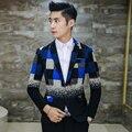Plaid Mens Blazers New Arrivals 2016 Wool Blend Blazer Hombre Slim Fit Blazer Suit Coat Men Latest  Design Wedding Blue Yellow