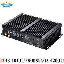 Промышленные ПК i3 4010U i5 4200U процессор безвентиляторный компьютер встроен настольных ПК HTPC с 2 com 4 USB3.0