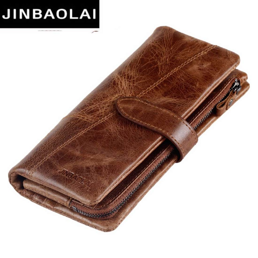 JINBAOLAI Genuine Leather Men Wallets Fashion High Quality Clutch Bag Male Purse Leather Cell Phone Card Holder Wallet  8107-3# manbang 2017 new wallet genuine leather men wallets short male purse card holder wallet men fashion high quality free shipping