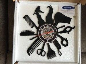 Image 5 - Hairdresser Barber Shop Salon Vinyl Record Wall Clock Art Home Decor Women Gift Decorative Vinyl Record Wall Clock Christmas