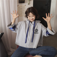 GOT7 KPOP 2019 New coat Korean version men women Sweatshirt Hoodie Cotton Horn sleeve gray Letter printing Seven sleeves Lovers