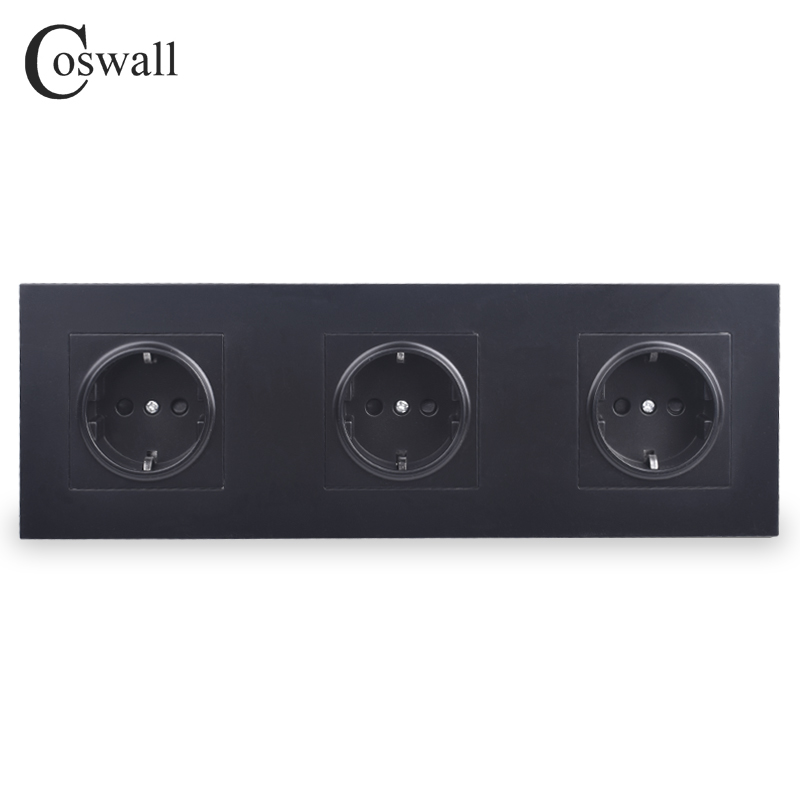 COSWALL Wall Power Socket Grounded 16A EU Standard Triple Outlet With Children Protective Door Black White Gold PC Panel