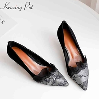 Krazing pot 2018 natural skin embroidery stiletto high heels Spring dress dating black lace sexy ruffles pointed toe pumps L03