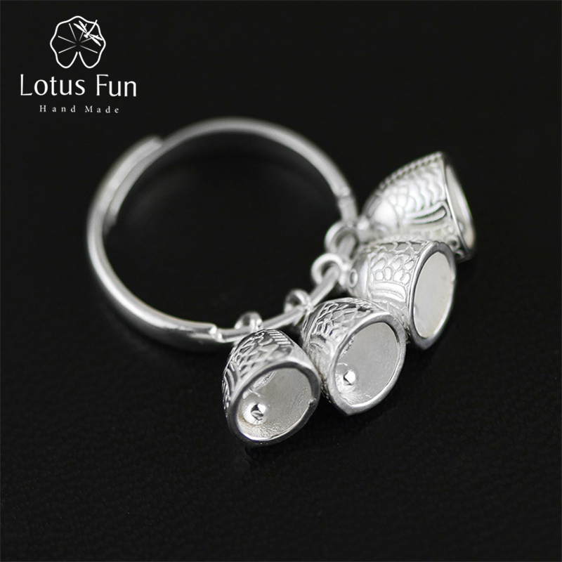 Lotus Fun Real 925 Sterling Silver Natural Creative Handmade Designer Fine Jewelry Ethnic Vintage Fish Bell Female Rings Bijoux