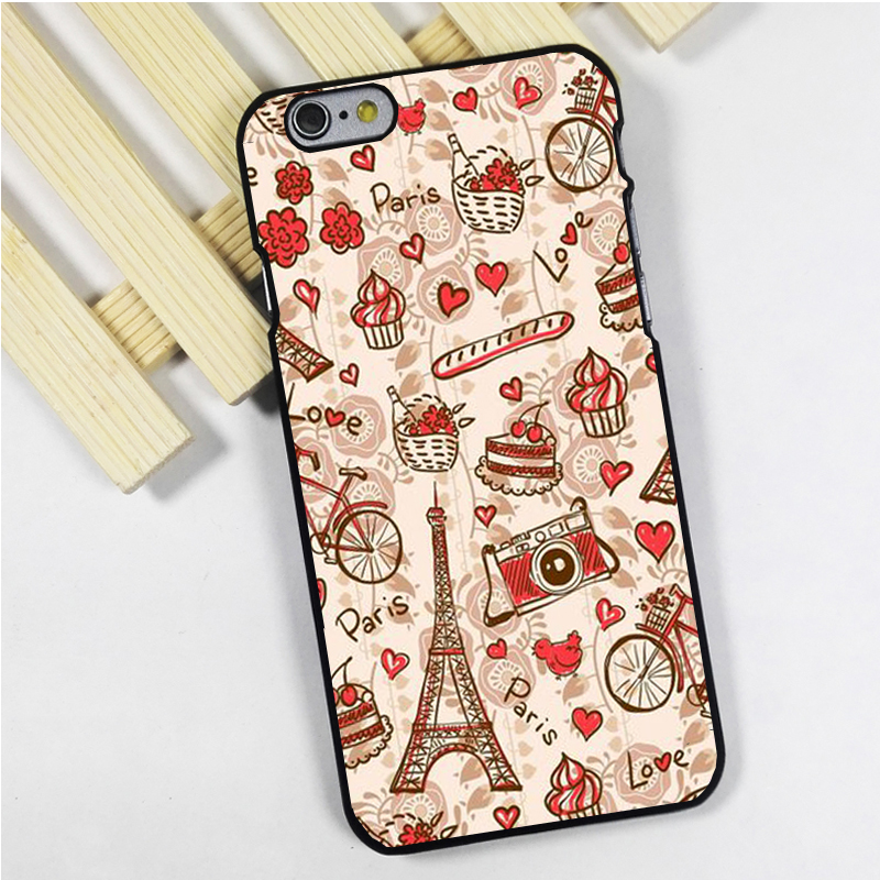 Fit for iPhone 4 4s 5 5s 5c se 6 6s 7 plus ipod touch 4 5 6 back phone case cover Paris pattern love eiffel tower travel Cute