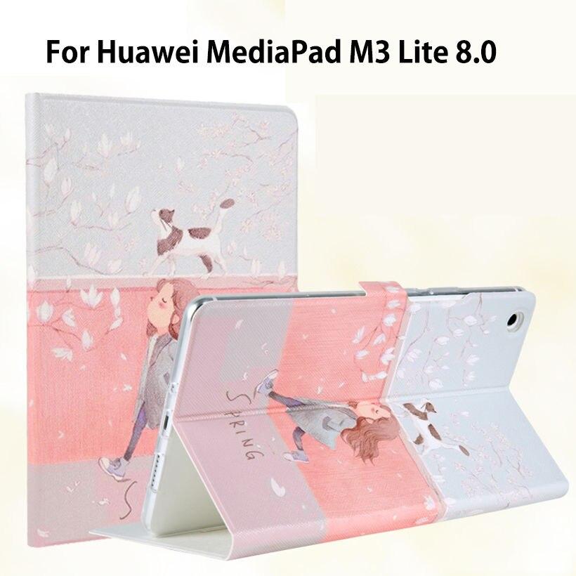 Fashion Cartoon Case For Huawei Mediapad M3 Lite 8.0 CPN-W09 CPN-AL00 8 Cover Funda Tablet PU Leather Flip Stand Skin Case genuine leather for huawei mediapad m3 lite 8 case cover m3 lite 8 0 case cowhide protective protector cpn l09 w09 al00 tablet