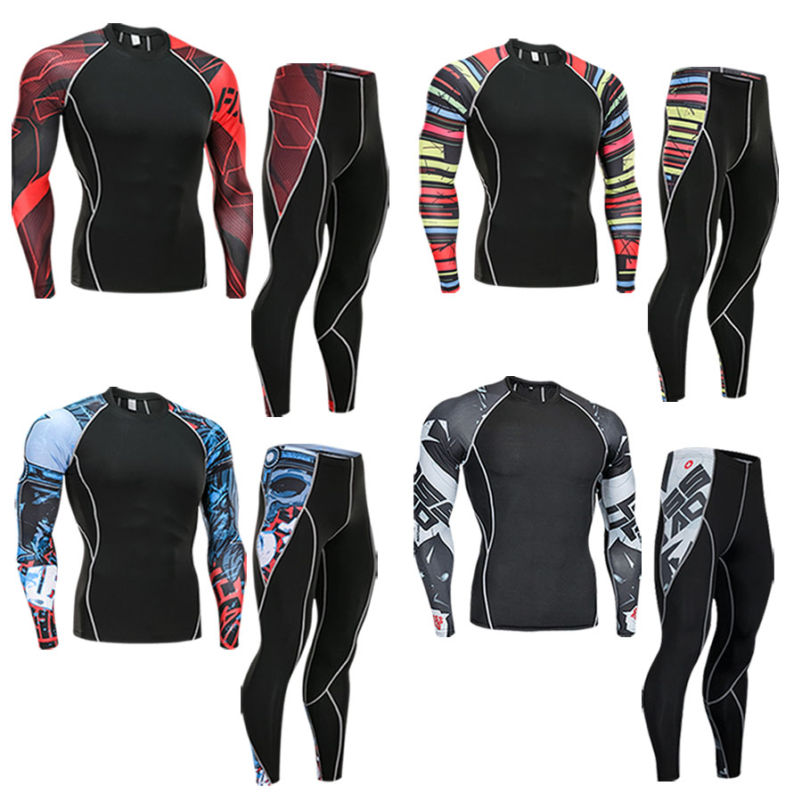 2018 Fitness MMA Running Shirt Men Rashguard Male Long Sleeve T Shirt Crossfit Bodybuilding Men Skull Print 3D T Shirt Tops