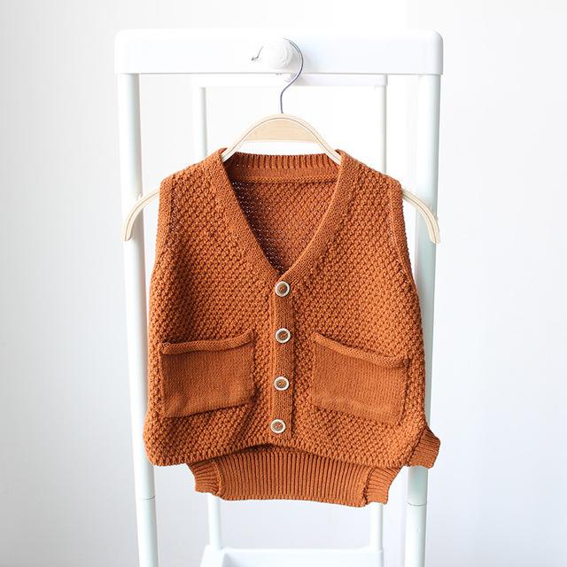 2016 Primavera Otoño Niñas Prendas de Punto Para Niños con cuello en V chaleco de Bebé Infantil Niños Suéter Cardigan bolsillo Del Suéter Chaleco