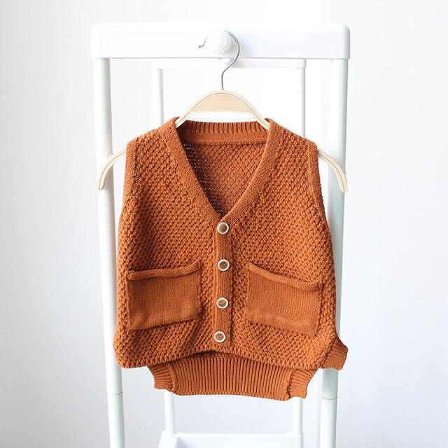 2016 Spring Fall Little Girls Knitwear Children V neck waistcoat Baby Infant Kids Sweater Cardigan pocket Vest Sweater