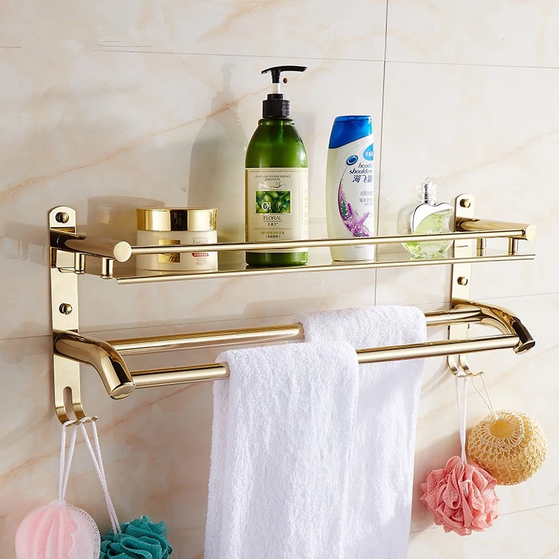 Bathroom Accessories bathroom stainless steel Golden Finish shelf 40cm With hook towel bar,double towel Shelf bathroom shelf 032365bathroom shelf bathroom shelf convenient rack with hook accessories colorful moistureproof environmental beautiful