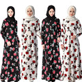 Muçulmano Moda Vestido Floral Impressão Abaya em Dubai Vestuário Islâmico Para As Mulheres Manga Longa Maxi Vestidos Musulmane
