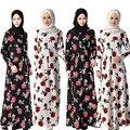 Vestido de los musulmanes de Moda Floral Print Ropa Islámica Para Las Mujeres Abaya en Dubai Musulmana de Manga Larga Vestidos Maxis
