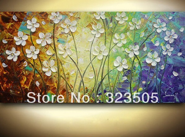 Heavy Oil Abstract Flower Canvas Wall Art Textured Painting On For Living Room Free