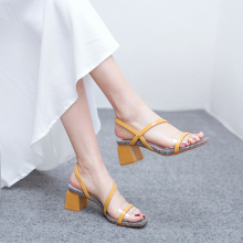 2019 Summer Gingham Yellow White Women Sandals 5CM Block High Heels Femme Shoes 11813ABX2263