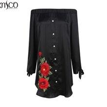 MCO, сексуальное платье с открытыми плечами, цветочной вышивкой размера плюс, платье-рубашка, больше размера d, мини-платья, черная, с открытыми плечами, большая женская одежда, 5xl, 6xl, 7xl