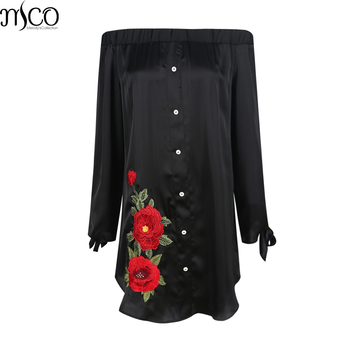 MCO <font><b>Sexy</b></font> Off Shoulder Floral Emboridery Plus Size Shirt Dress Oversized Mini Dresses Black Bardot Big Women Clothing <font><b>5xl</b></font> 6xl 7xl image